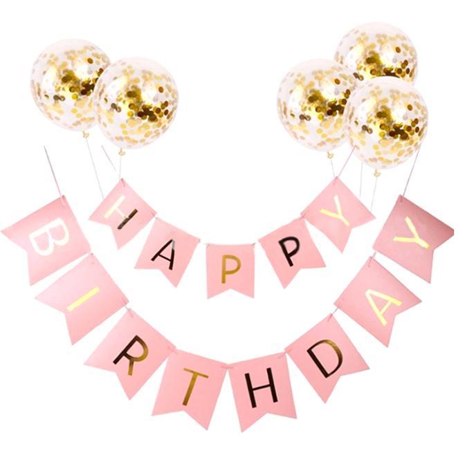 이모쿠비 생일파티 가랜다 + 풍선, 타입1, 1세트