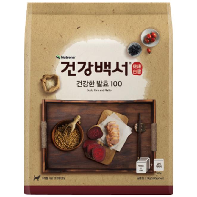 뉴트리나 건강백서 전연령용 건강한 발효 100 사료, 100 (오리+쌀+낫또), 2.5kg