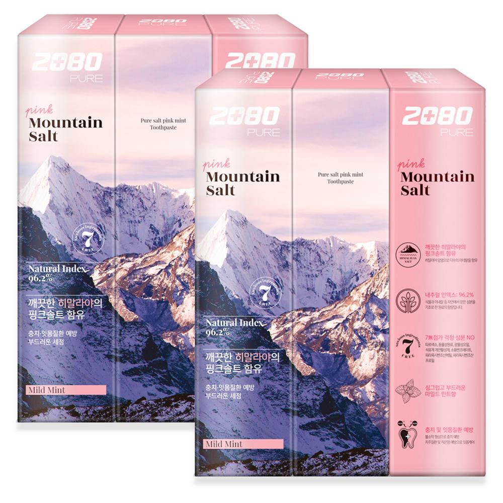 2080 퓨어 마운틴 핑크 솔트 치약, 150g, 6개입
