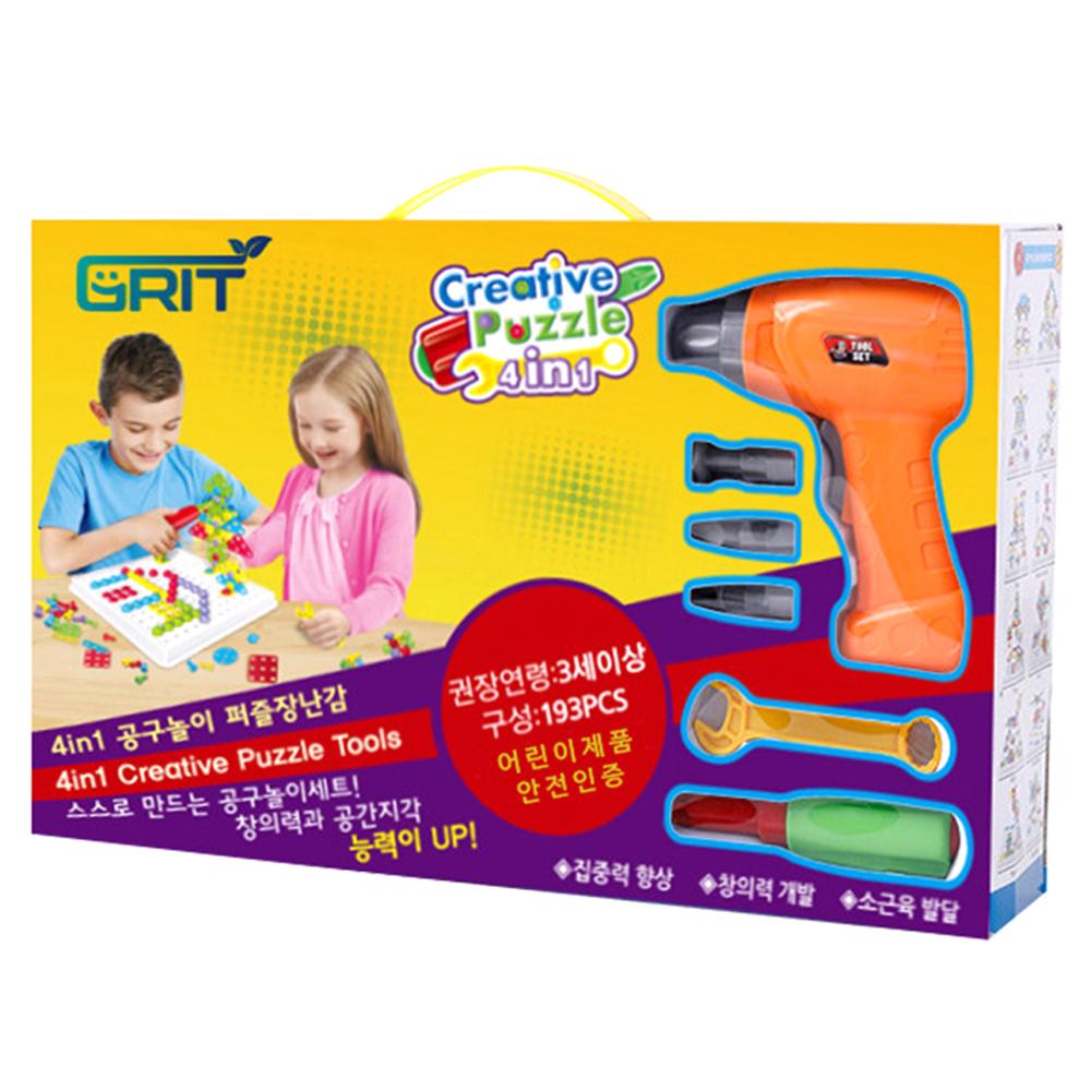그릿 유아용 전동드릴 장난감 볼트와 너트 공구놀이, 혼합 색상