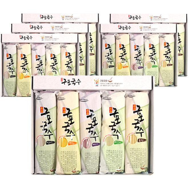 구포국수 5색 국수 선물 세트, 국수 소면 + 강황 + 자색고구마 + 시금치 + 검정콩, 6세트