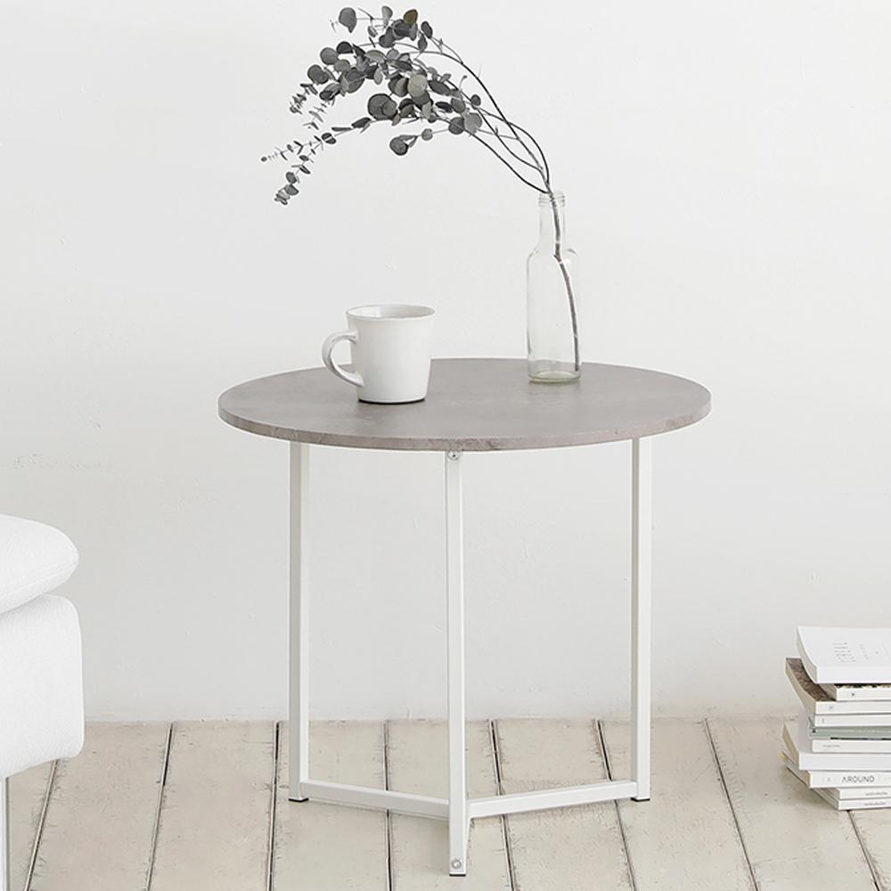 룸앤홈 노르딕 스톤 원형 테이블, 화이트