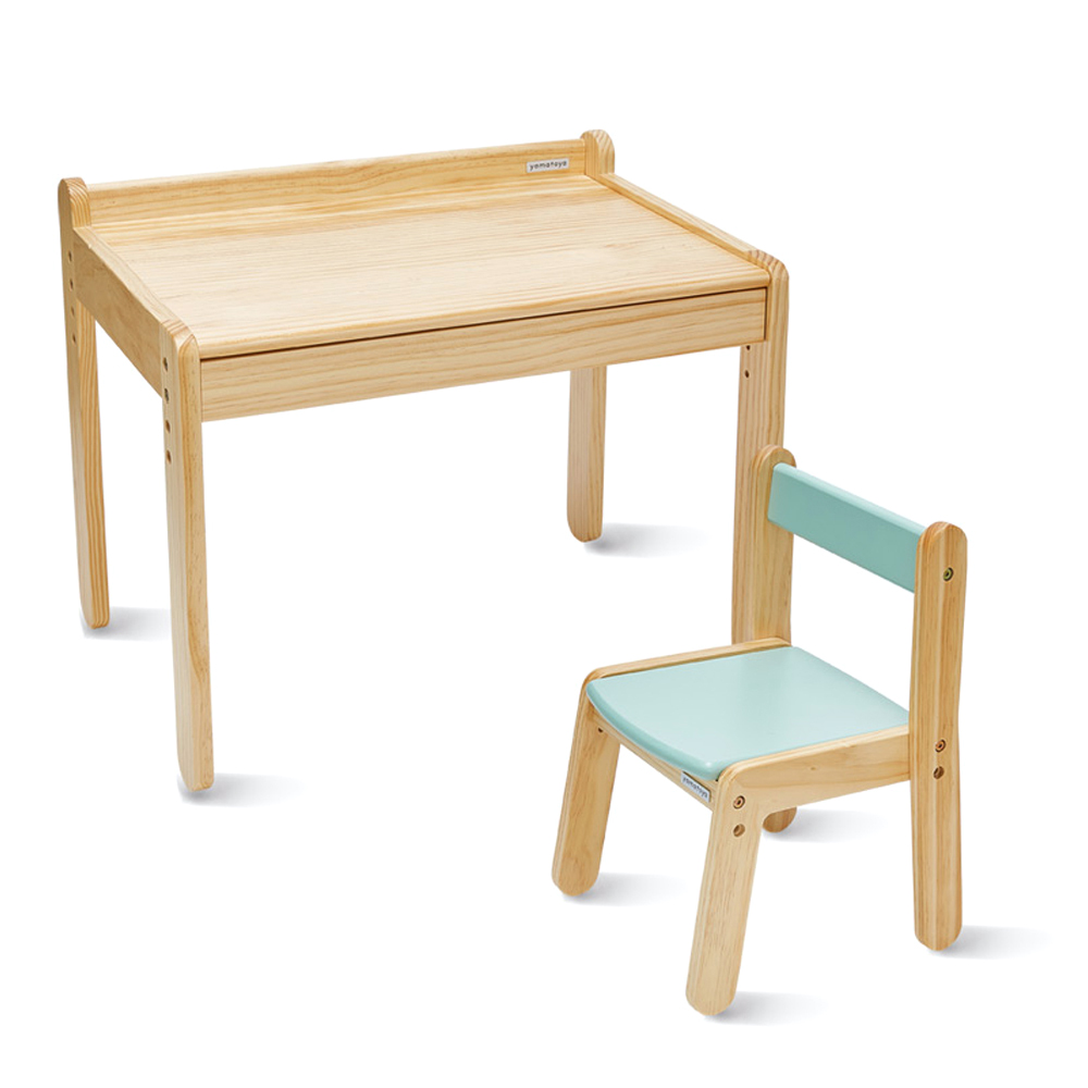 야마토야 노스타 1인용 리틀 책상 의자세트, 내추럴, 민트그린