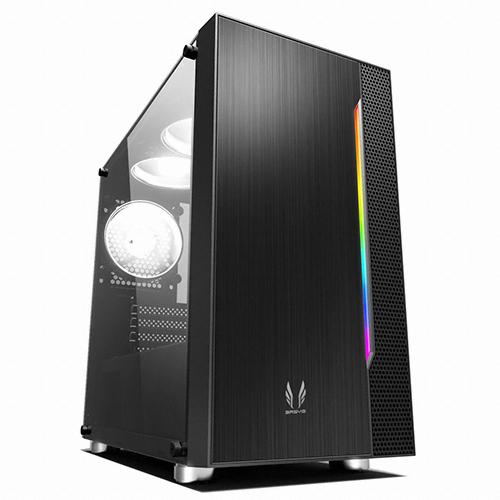 쓰리알시스템 RGB 강화유리 미니 PC케이스 블랙 R400CP