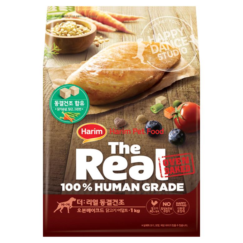 하림펫푸드 더리얼 동결건조 오븐베이크드 어덜트 강아지사료, 닭, 1kg