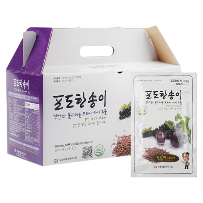 김재식헬스푸드 포도한송이 포도씨포도즙, 100ml, 50개입