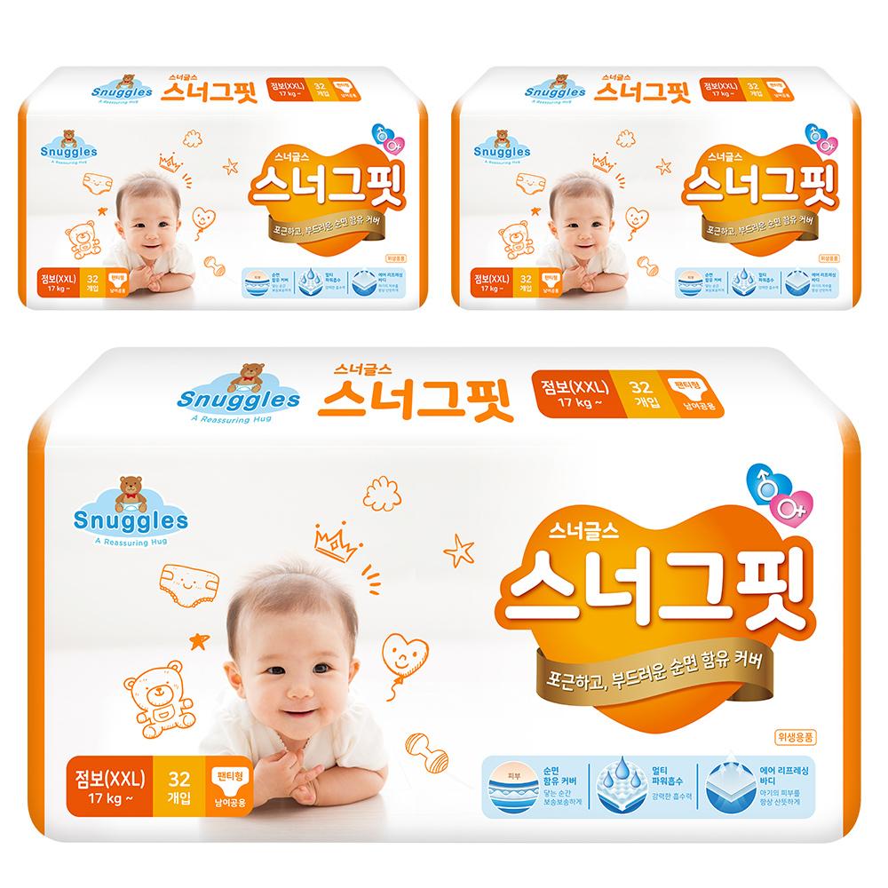 스너글스 스너그핏 팬티형 기저귀 남여공용 점보 (17kg~), 96매