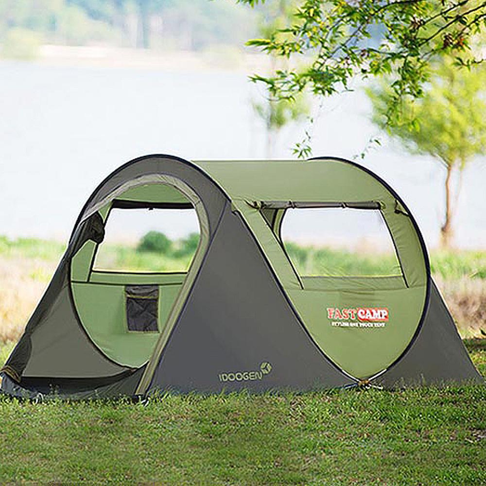 패스트캠프 베이직3 원터치 텐트, 올리브그린, 3~4인용