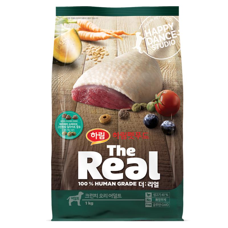 하림펫푸드 더리얼 크런치 어덜트 강아지사료, 오리, 1kg