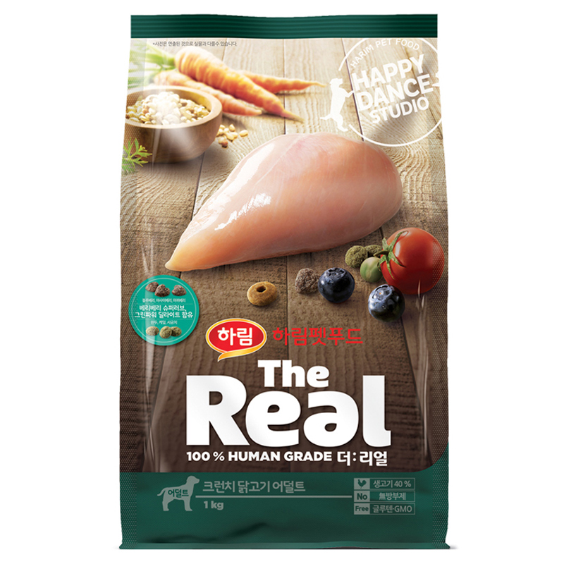 하림펫푸드 더리얼 크런치 어덜트 강아지사료, 닭, 1kg