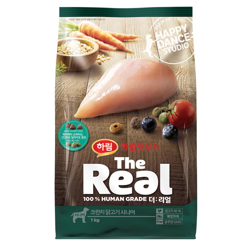 하림펫푸드 더리얼 크런치 닭고기 시니어 강아지 사료 1kg 1개