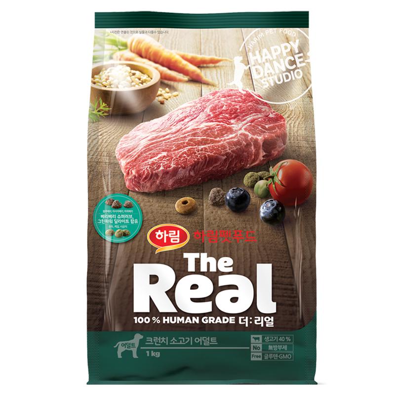 하림펫푸드 더리얼 크런치 어덜트 강아지사료, 소, 1kg