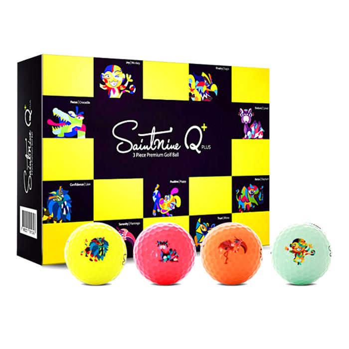 세인트나인 Q 플러스 고반발 골프공 3피스 4컬러, 혼합 색상, 12개