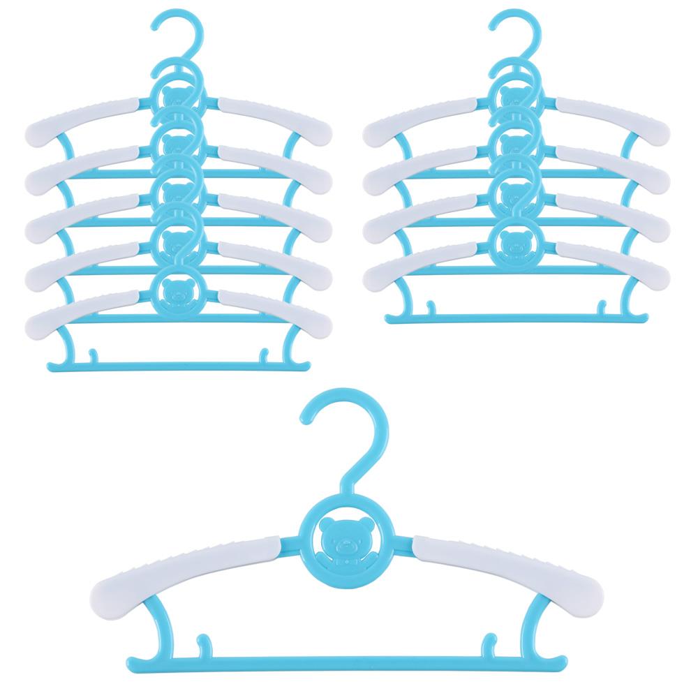 하늬통상 길이조절 가능한 아동 옷걸이, 블루, 10개입