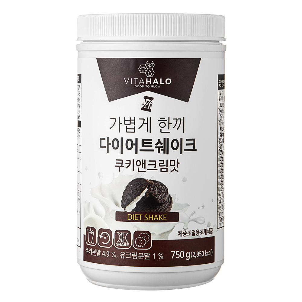 비타할로 가볍게 한끼 다이어트 쉐이크 쿠키앤크림맛, 750g, 1개