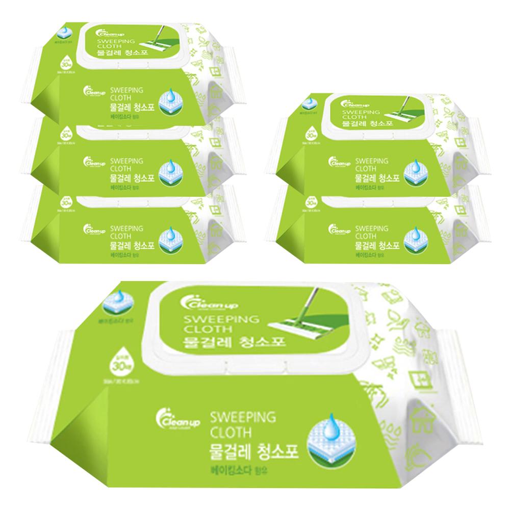 클린업 물걸레 청소포 대형 30매, 6개