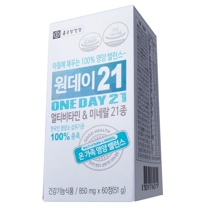 종근당건강 원데이21 멀티비타민 & 미네랄, 60정, 1개