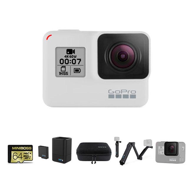 고프로 HERO 7 Black 히어로7 블랙 더스크 화이트 + 64GB 메모리 + 듀얼 배터리 차져 배터리킷 + 케이시 케이스 + 3Way 셀카봉 + 교체용 보호 렌즈, SPCH1