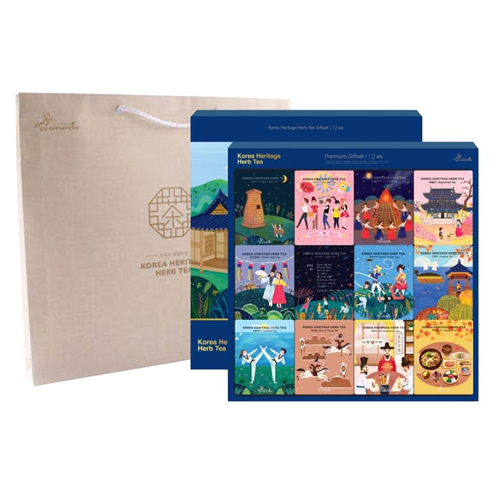 아름드레 한국의 전통차 12종 선물세트 + 쇼핑백, 1세트