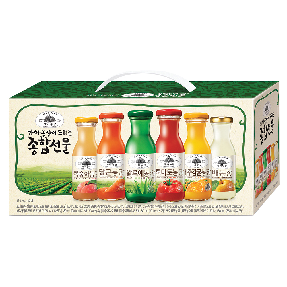 가야농장 주스 6종 종합선물세트, 180ml, 12병