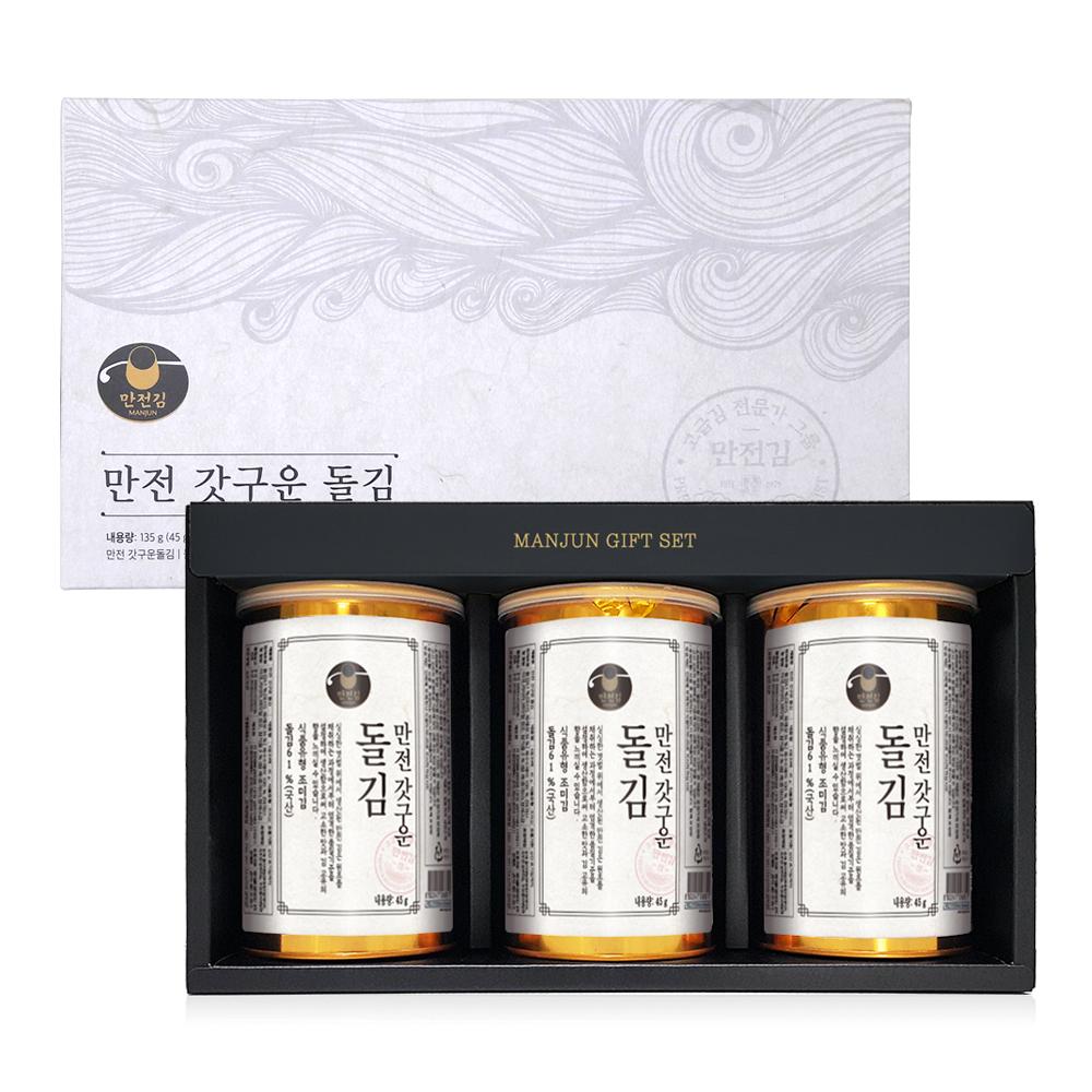 만전김 갓구운 돌김 캔 세트 + 쇼핑백, 1세트