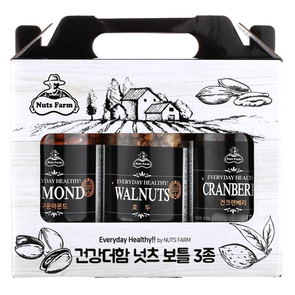 넛츠팜 건강더함 넛츠 보틀 3종 1호 선물세트, 550g, 1세트
