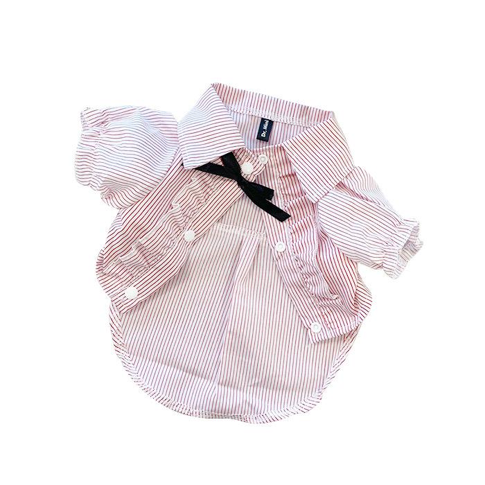 DrMini 반려동물 양이 & 아지 스트라이프 셔츠, 핑크