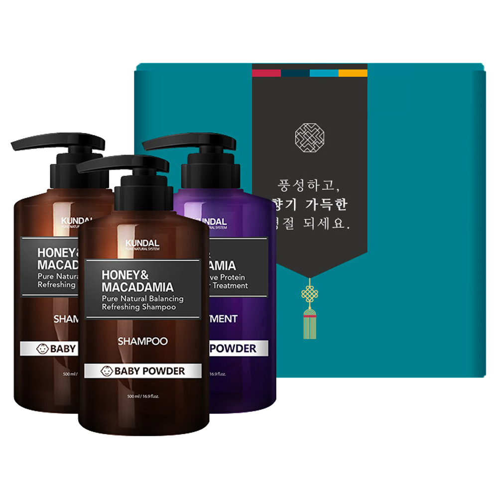 쿤달 헤어 3구 명절선물세트 A 베이비파우더향, 1세트