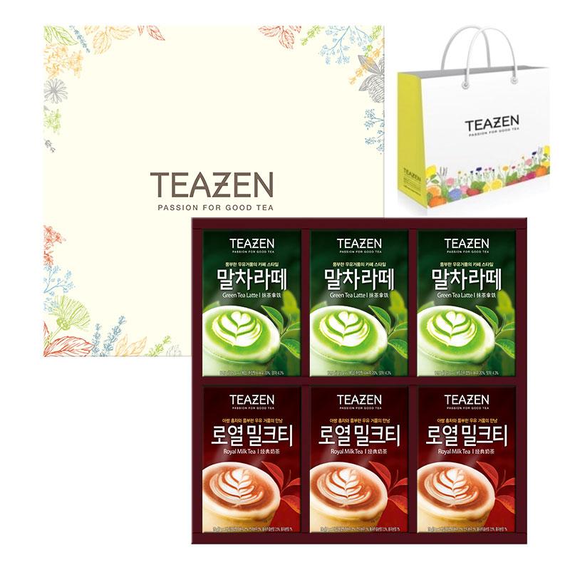 티젠 맛있는 라떼 2종 세트 + 쇼핑백, 말차라떼 14.5g x 21p + 로열밀크티 17g x 21p, 1세트