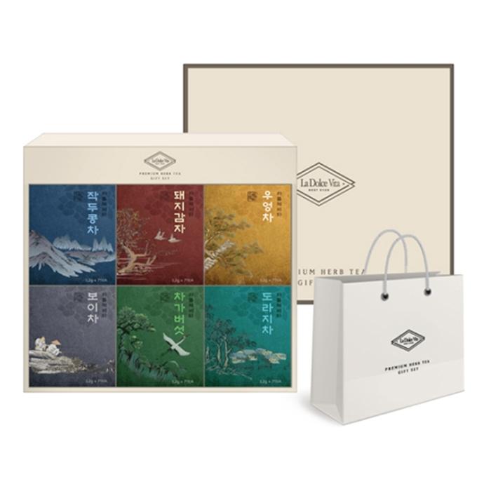 라돌체비타 프리미엄 전통차 6종 선물세트 + 쇼핑백, 전통차 6종 + 쇼핑백, 1세트