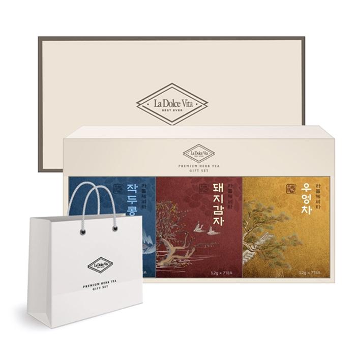 라돌체비타 프리미엄 전통차 3종 선물세트 + 쇼핑백, 작두콩차 + 돼지감자차 + 우엉차, 1세트