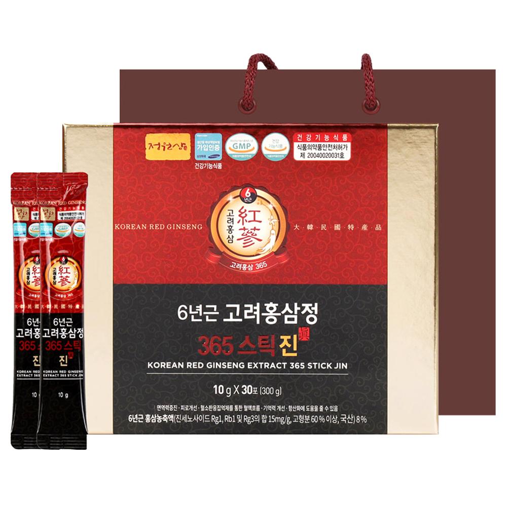 정원삼 6년근 고려홍삼정 365스틱 진 + 쇼핑백, 10g, 30포