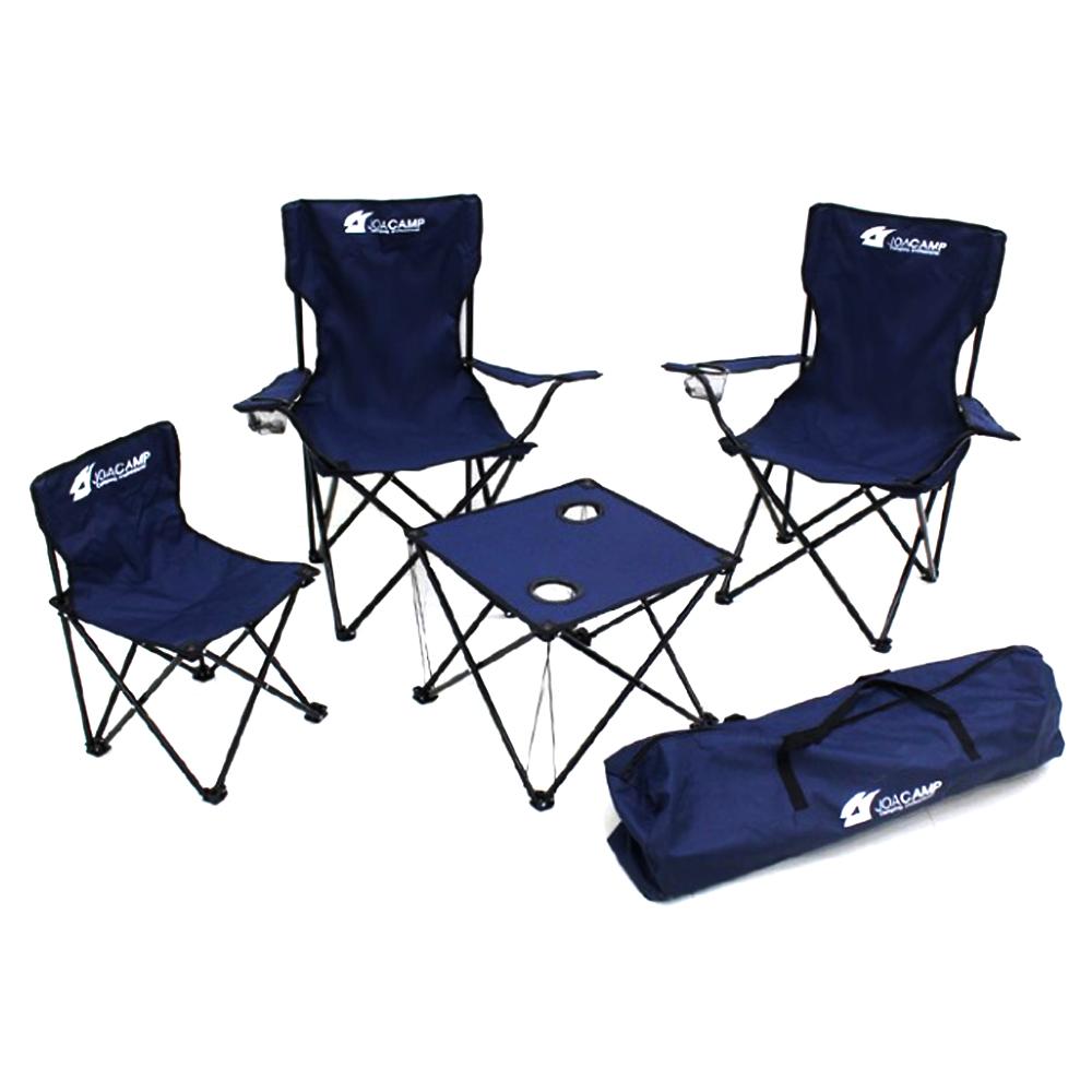 조아캠프 트래블 캠핑 테이블 의자 5종 세트, 네이비