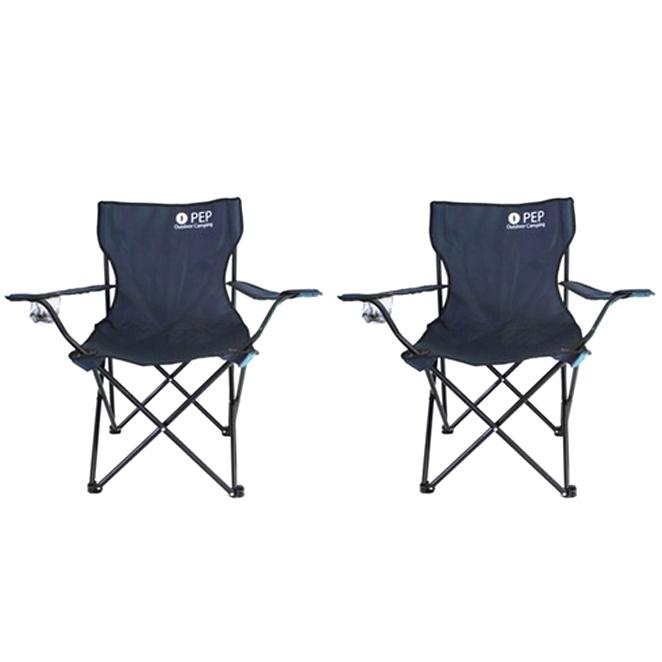 PEP 1+1 캠핑의자 접이식/그라운드 체어, 네이비+네이비, 2개
