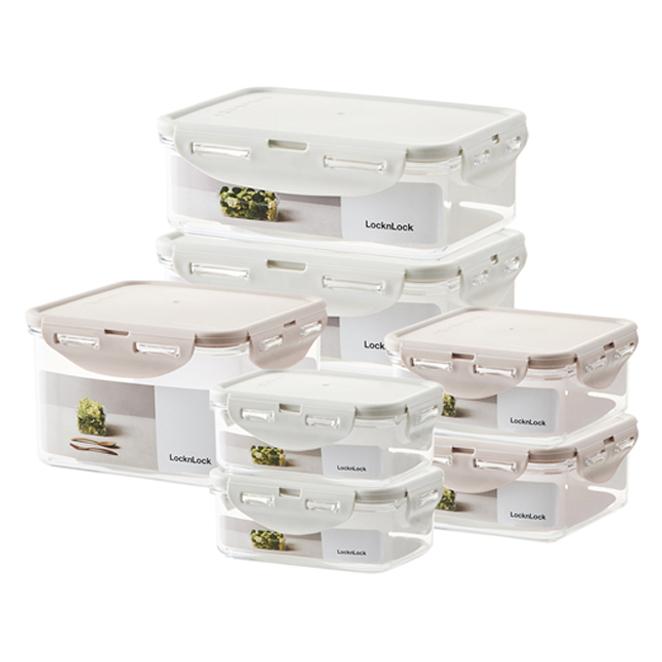 락앤락 향균 스테커블 냉장고 정리 밀폐용기 세트 LBF806S7N, 1세트, 직사각 350ml x 2p + 750ml x 2p + 정사각 600ml x 2p + 1.3L