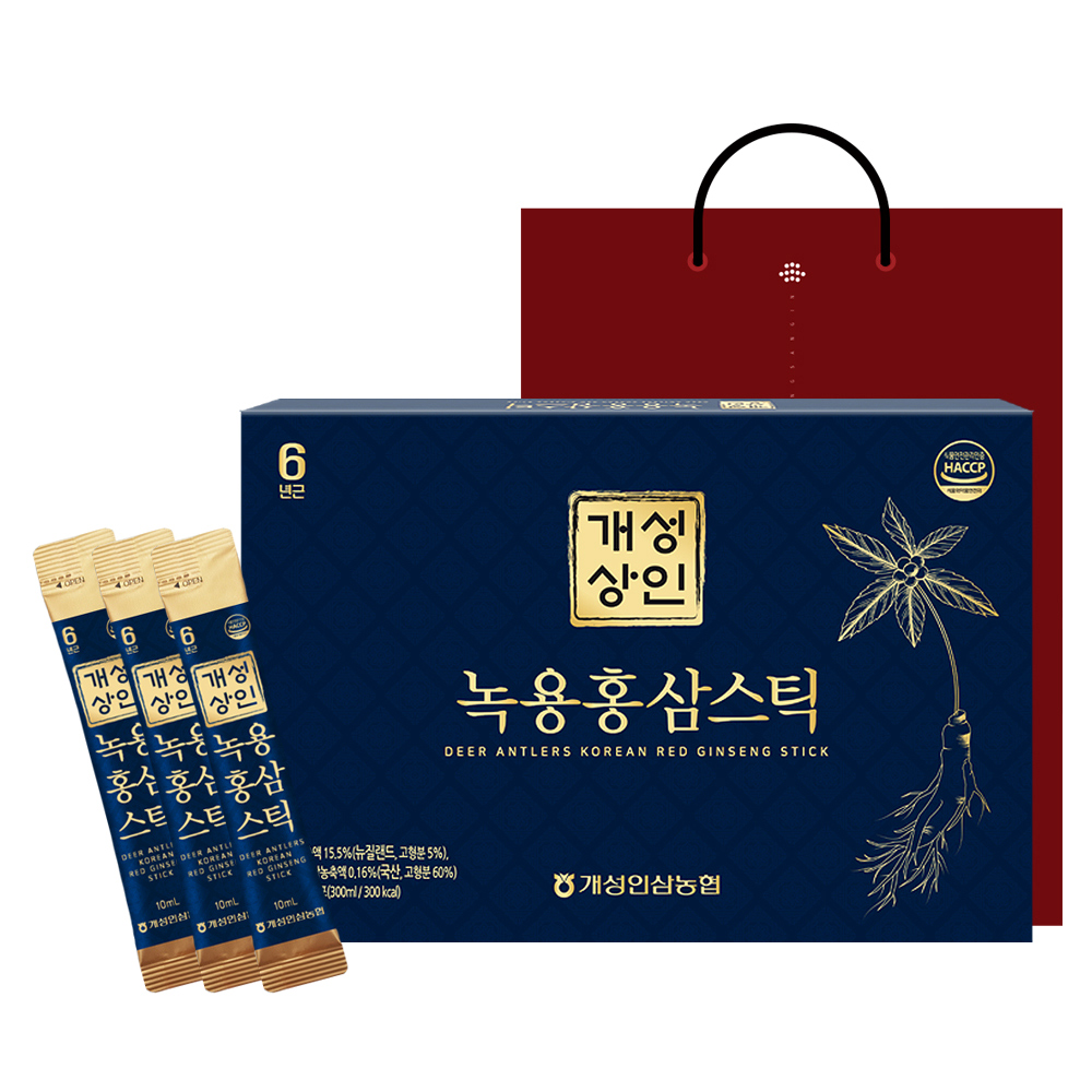 개성상인 녹용 홍삼 스틱 30개입 + 쇼핑백, 300ml, 1세트