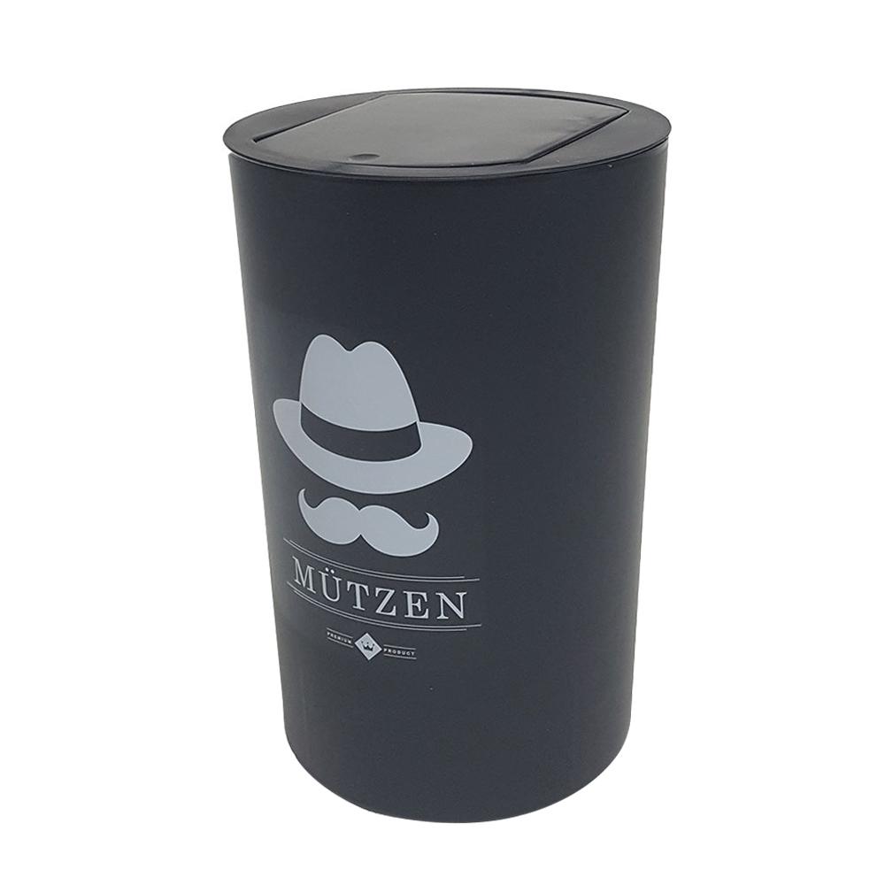 씨에스리빙 뮤첸 종량제봉투 전용 모던 원형 원터치 휴지통 20L, 블랙, 1개