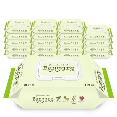 방그레 라이트 유아물티슈 캡형, 100매, 20개