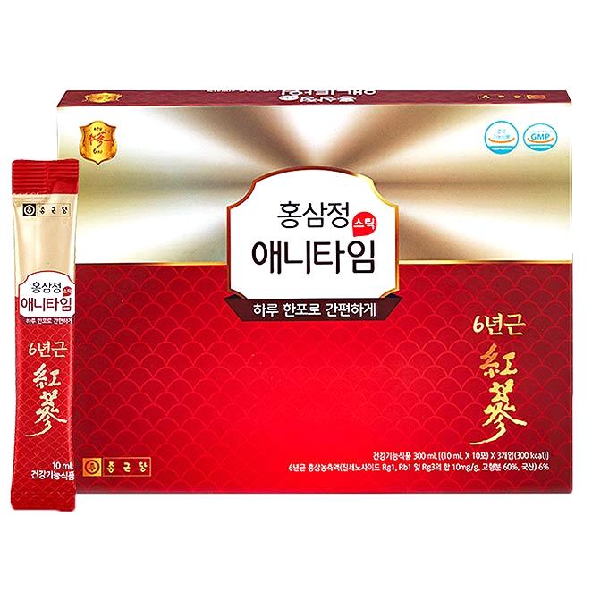 종근당 홍삼정 애니타임 스틱 + 쇼핑백, 10ml, 30개입