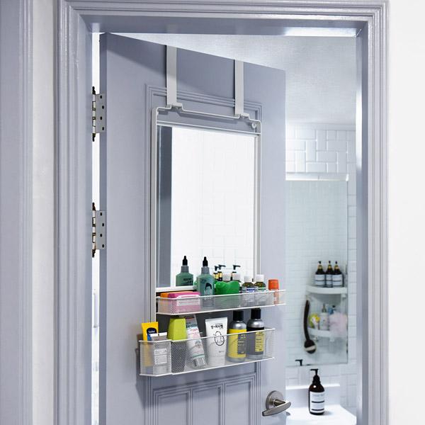 노바리빙 문걸이 수납 거울 화장대 롱후크, 화이트