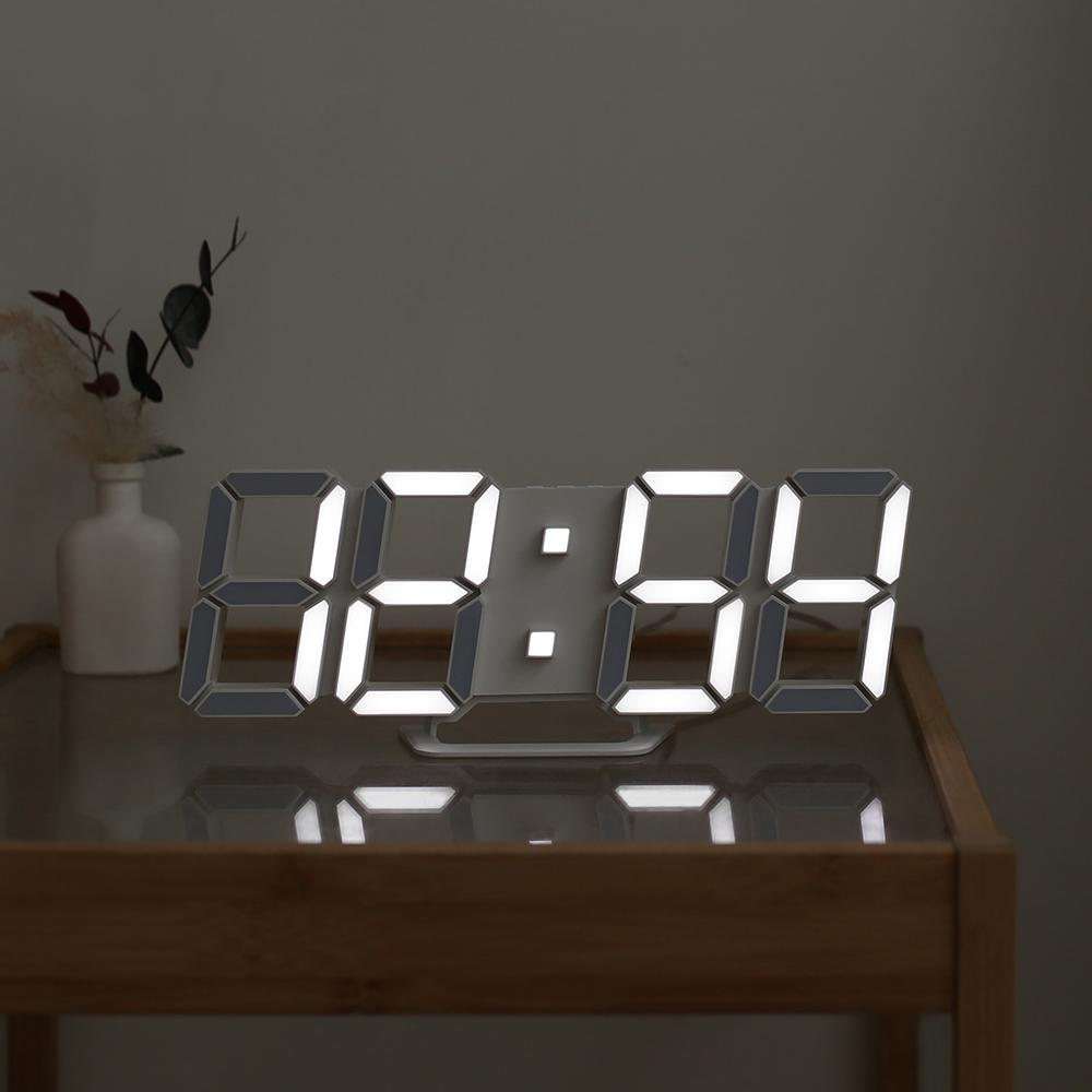 무아스 프리미엄 3D LED 벽시계, 화이트
