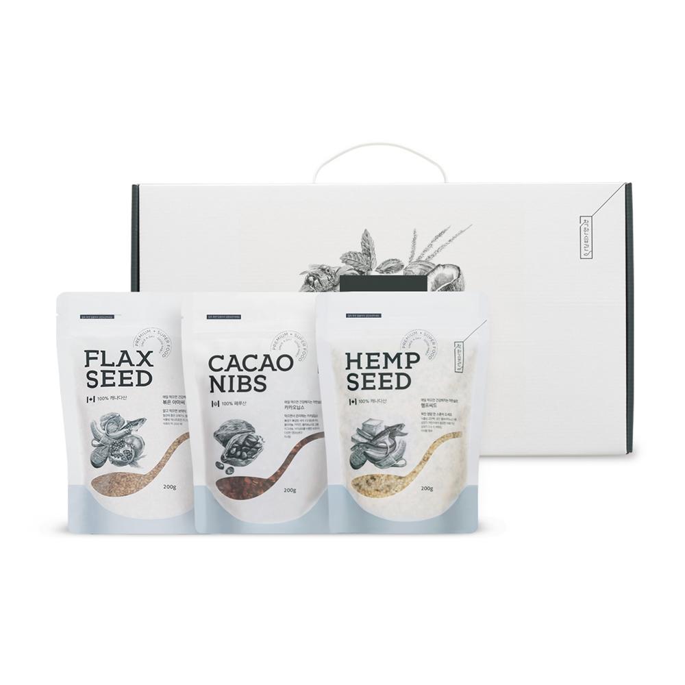 착한습관 슈퍼씨드 3종 선물 카카오닙스 + 햄프씨드 + 분말아마씨, 600g, 1세트