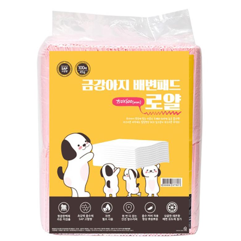 금강아지 로얄 더블 애견 배변패드 레몬향 100매, 1개