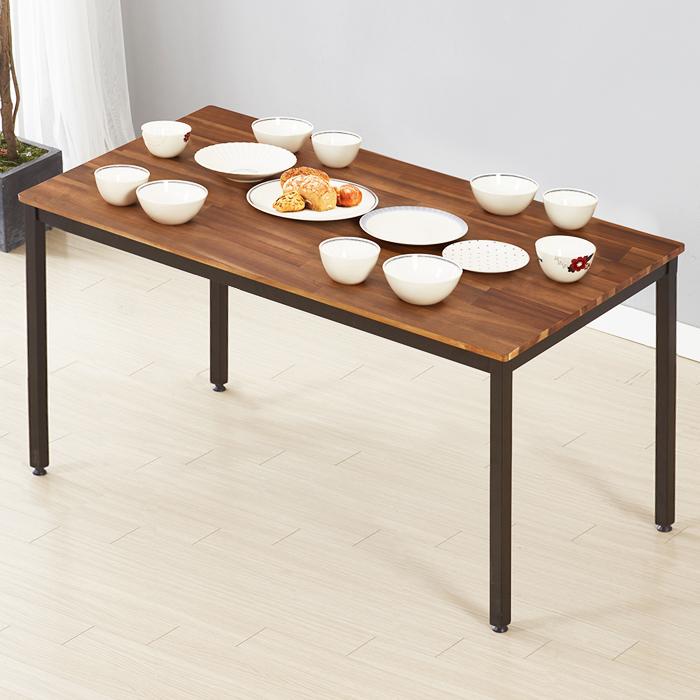서우홈 아카시아 원목 베이직 테이블, 브라운