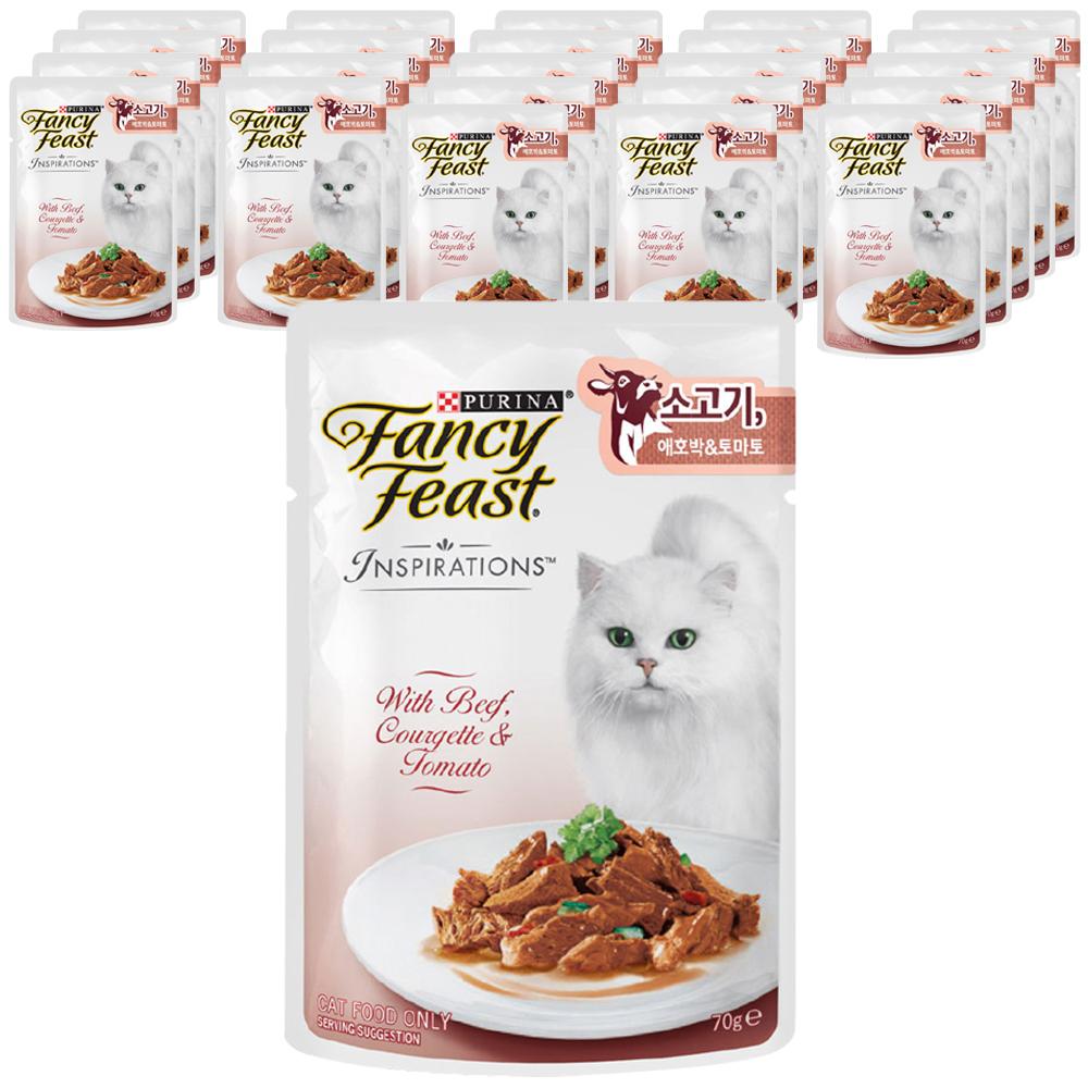 퓨리나 팬시피스트 인스퍼레이션 고양이 파우치, 소고기 + 애호박 + 토마토, 24개