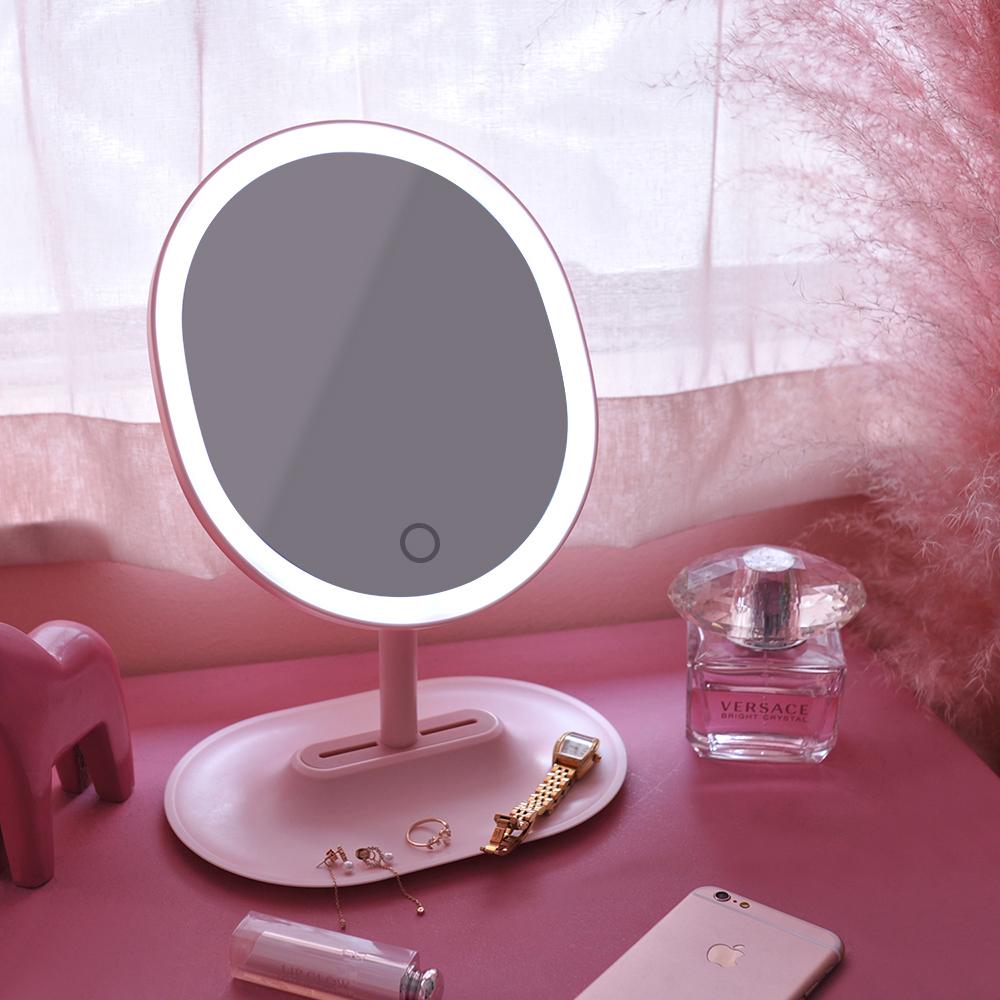 무아스 뷰티링 LED 조명거울, 핑크