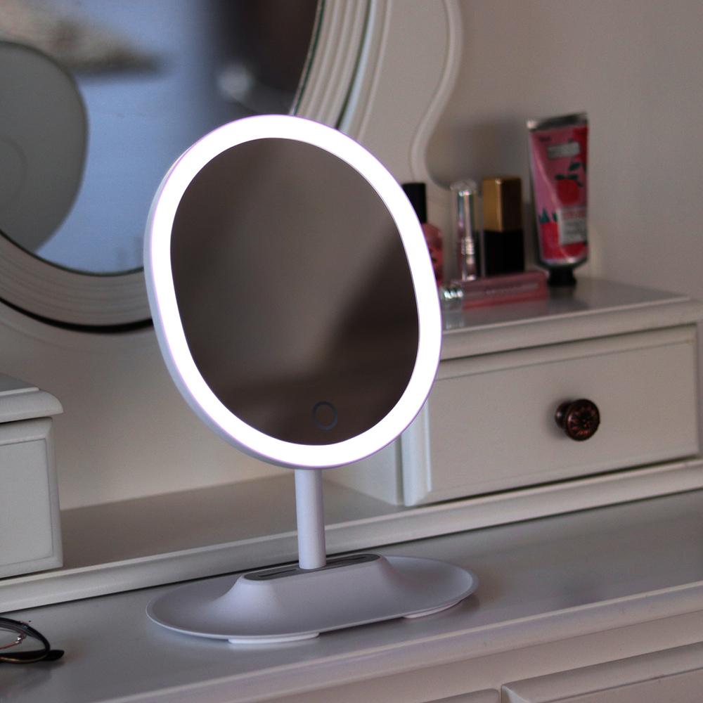 무아스 뷰티링 LED 조명거울, 화이트