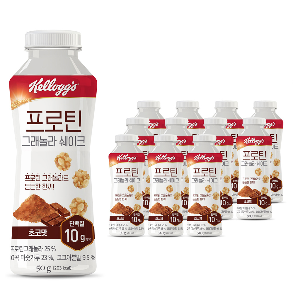 켈로그 프로틴그래놀라 쉐이크 초코맛, 50g, 12개