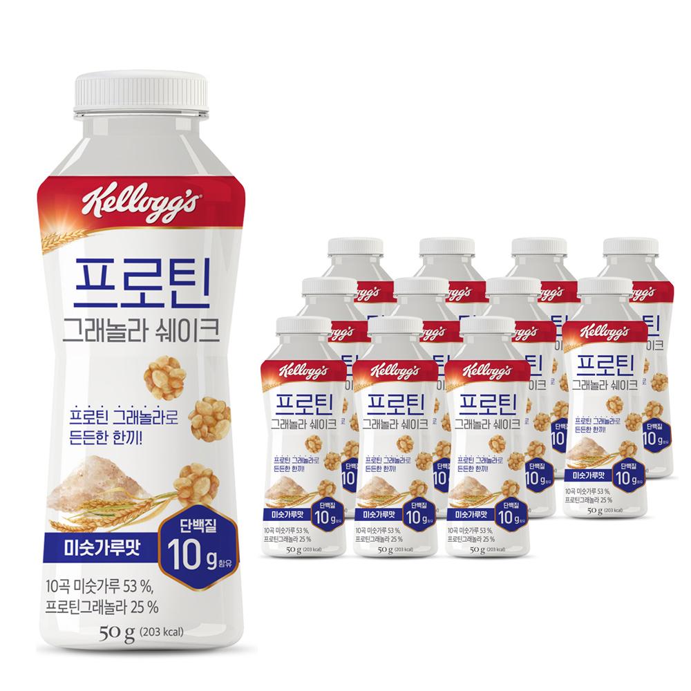 켈로그 프로틴그래놀라 쉐이크 미숫가루맛, 50g, 12개
