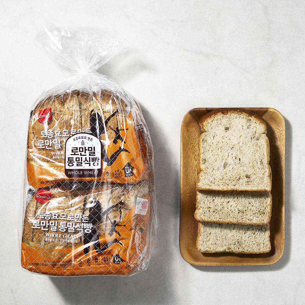 삼립 로만밀 통밀식빵, 420g, 2개입